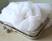 Bridal clutch, Silk Chiffon Clutch In White or Ivory, Wedding clutch, Wedding bag, Luxury Bridesmaid Gift