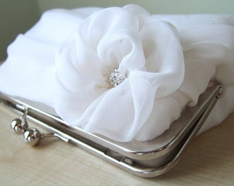 Bridal clutch, Silk Chiffon Clutch In White or Ivory, Wedding clutch, Wedding bag, Luxury Bridesmaid Gift