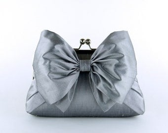 Silk Bow Clutch in Silver, wedding clutch, wedding bag, bridesmaid clutch, Bridal clutch