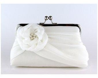 Bridal clutch, Silk Chiffon Clutch with Pearls,  Wedding purse, Wedding clutch