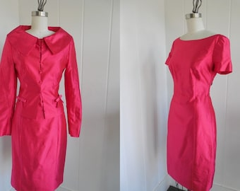 1990s Vintage Fuchsia Pink Escada Couture Dress Retro Style Dress Suit