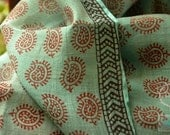 Sheer silk cotton blend printed fabric for curtains, summer dresses. Gossamer thin fabric. Emerald Greens. Emerald Forests Collection. - FabricTreasury