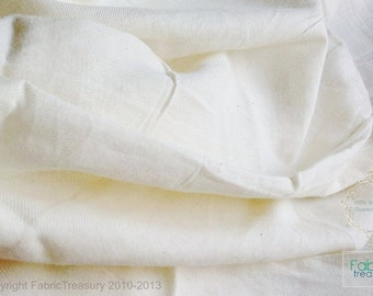 Soft organic cotton unbleached fabric in twill  weave. Cloudy soft. 44 inches wide