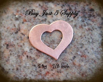 "HEART Washer- COPPER - 24 Gauge, 7/8"" - 5 for You - Metal Stamping Blanks ... for Jewelry, Stamping, Scrapbooking, and more...."