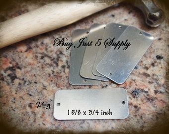 "Rectangle Tag ... NICKEL SILVER - 2 Hole - Metal Stamping Blanks - 24 Gauge, 1 5/8 x 3/4"" - 5 for You"