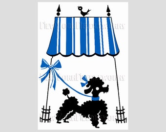 Retro Poodle Silhouette, Retro Silhouette Pattern, Dog Cross Stitch, Needlepoint, Poodles, Silhouette from NewYorkNeedleworks on Etsy