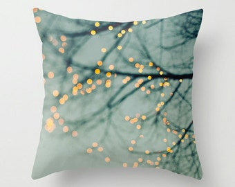 Pillow Case - Tree Lights - Nature Home Decor - Blue - Pillow Cover  - Fine Art Pillow - 16x16, 18x18, or 20x20