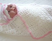 Crochet Baby Blanket White With Pink Trim Girl
