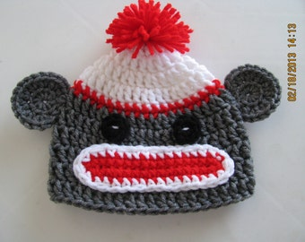 Sock Monkey Hat crochet newborn size photo prop / costume
