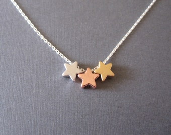 Triple Mixed Star Necklace