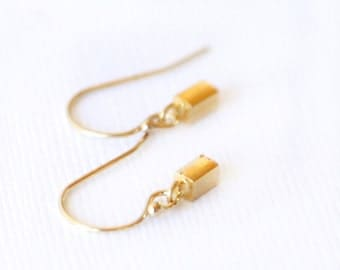 Tiny Gold Rectangle Earrings- Simple gold earrings everyday jewelry