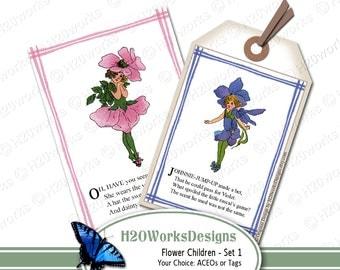 Vintage Flower Children Illustrations Poetry Rhymes (Your CHOICE - ACEO or Tags) Elizabeth Gordon, Spring, Garden, Kids, Ephemera - Set 1