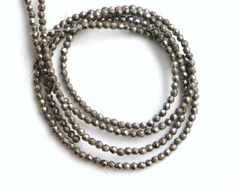3mm Pyrite faceted round beads FULL STRAND