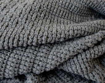 Knitted Blanket, Afghan/Throw , Medium Gray