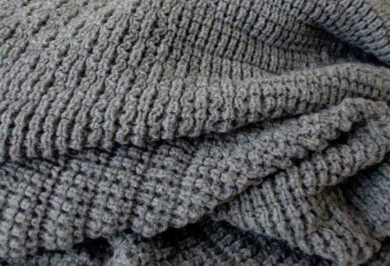 Knitted Blanket, Afghan/Throw , Medium Gray