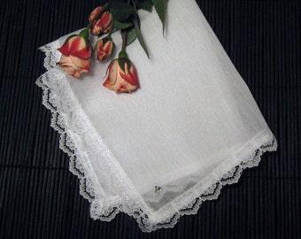 Handkerchief with  Lace Edge and Rhinestone