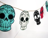 Printable Sugar Skull Garland- DIY decor - Day of the Dead  - Dia de los Muertos - Colorful - Wedding- Teal