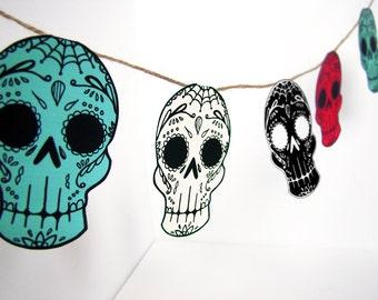 Printable Sugar Skull Garland- DIY decor - Day of the Dead  - Dia de los Muertos - Colorful - Wedding- Tealp
