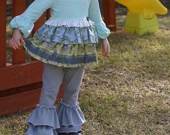 light gray knit leggings with double ruffles sizes 12m - 14 girls