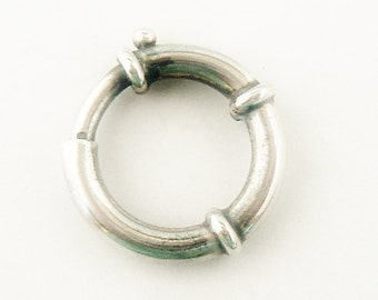 Large sterling silver spring ring bolt ring for Victorian locket book chains