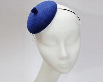 Mini Hat-Button-Cobalt-Wool Felt