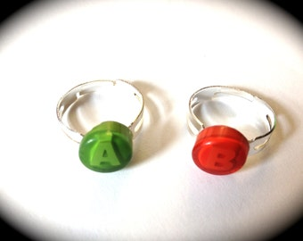 XBOX green and red letter A and B rings