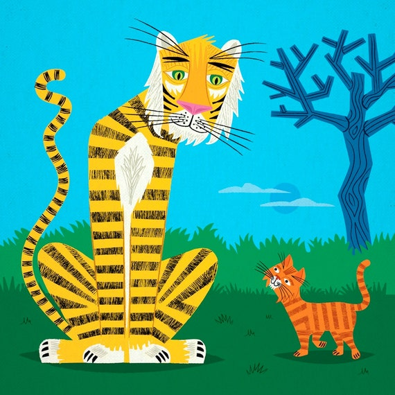 The Tiger and The Tom Cat - Animal illustration - Limited Edition Print - iOTA
