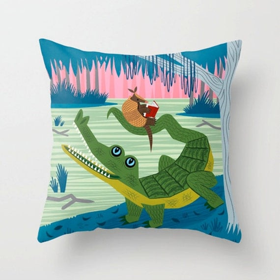 "The Alligator and The Armadillo - Throw Pillow / Cushion Cover (16"" x 16"") iOTA iLLUSTRATION"