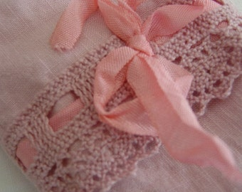 Lavender Eye Pillow - Bella Notte Perfect Peach Linen Crochet Trim
