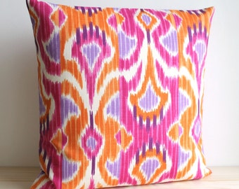 Orange and Pink Ikat Pillow Cover - 16 x 16 Ikat Cushion Cover - Ikat Wave Tangerine