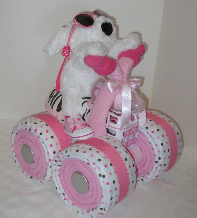 Diaper Cake 4 Wheeler Quad Motorcycle Baby By Arizonababycakes