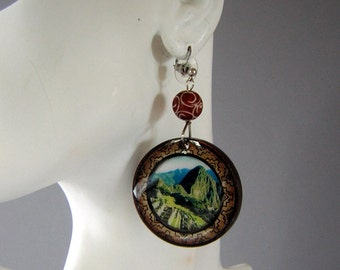 Machu Picchu Dangle Earrings - Funky Ethnic Chic - Upcycled Vintage Souvenirs
