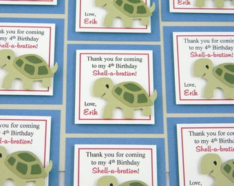 Boy Turtle Birthday Favor Tags