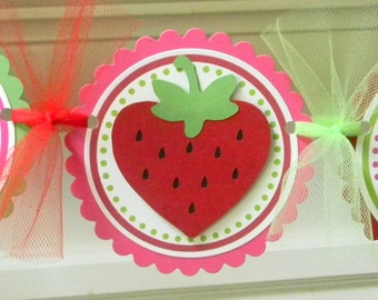 Strawberry Happy Birthday Party Banner ~ Red, Green, & Fuchsia