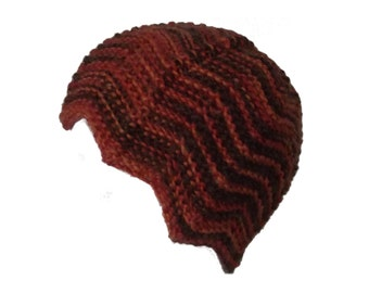 Hand knitted orange red brown rusty Winter Fun hat  multicolor wool