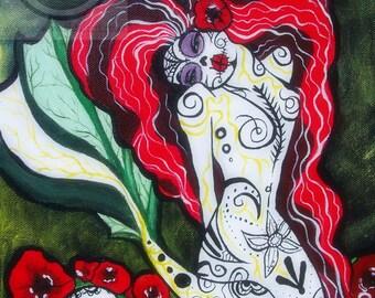 Day of the Dead Heart Mermaid 8x10 print