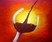 Pouring Wine Painting  30 x 40 x 1.5 Acrylic on Gallery wrapped canvas, by Michael H. Prosper