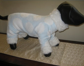 Couture Dog Pajamas - Any Size - Blue Dots with Faux Fur - Item 9714