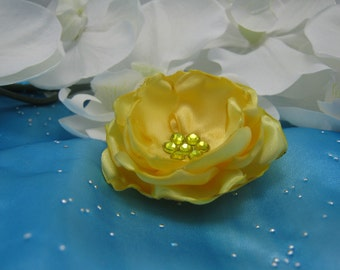 Dog Hair Bow - Yellow Satin Flower