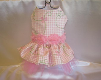 Couture Dog Harness Party Dress - Any Size - Pink Flower Gingham
