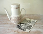 Vintage Pontesa Ironstone Coffee Pot in pink and white - thefoxandthespoon
