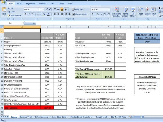... Printables, Etsy Sales & Expenses Template, Editable Excel Worksheet