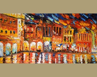 ORIGINAL Oil Painting After The Rain 23 X 45 Cityscape Colorful Impressionism Palette Knife Big Yellow Blue Red Rain ART by MArchella