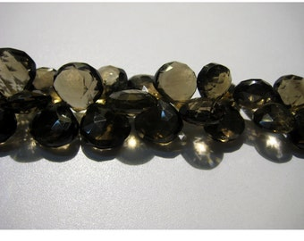 Smoky Quartz Briolettes, Heart Briolettes, Faceted beads - 9-10mm Each - 3.5 Inches - 17 Pieces Approx