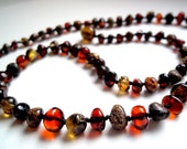 Dark Multicolor Baltic  Amber  Necklace   18.1  inches.