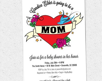 MOM Retro Heart Tattoo, Baby Shower Invitation, Classic, Banner, Birds and Flowers, DIY Digital File