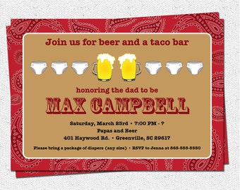 Beer and Diaper Party Invitation, Men, Western, Paisley, Baby Shower, DIY Digital file