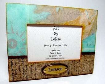 Frame, Map, Burlap, Lineage, Wood Frame, Office Decor
