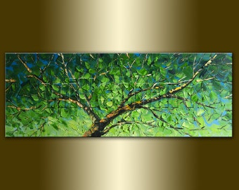 Commission Original Birch Landscape Painting Oil on Canvas Textured Palette Knife Contemporary Modern Tree Art Seasons 15X40 by Willson Lau