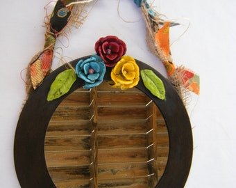Shabby Cottage Rose Wall Mirror